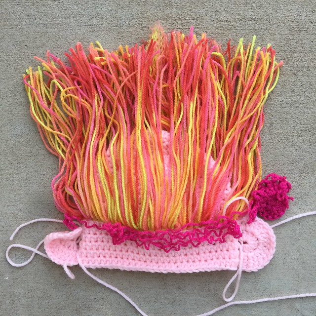 The future troll hat with crochet ears and a second, shocking pink, option for a head band