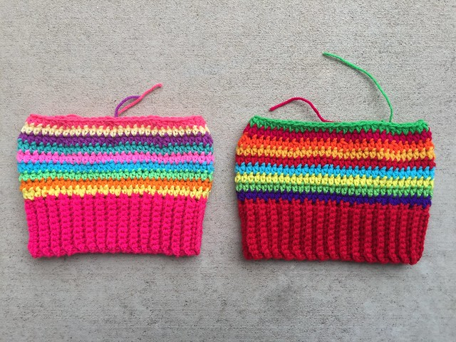 Three more rounds if crochet stripes are added to each hat