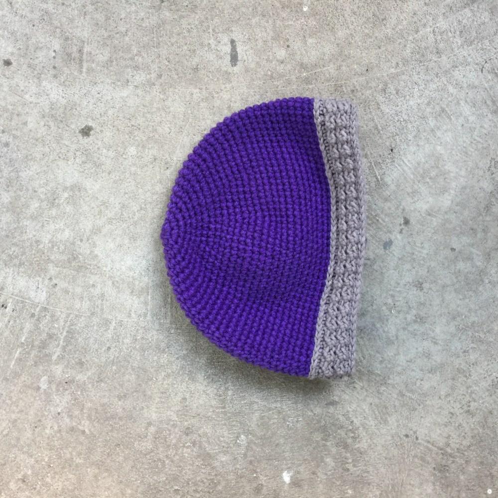 The base of a future purple viking helmet