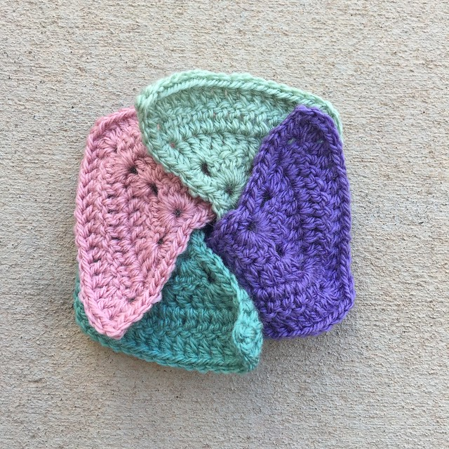 Four over lapping granny triangles I used to make a thing. In this case, a crochet coin purse