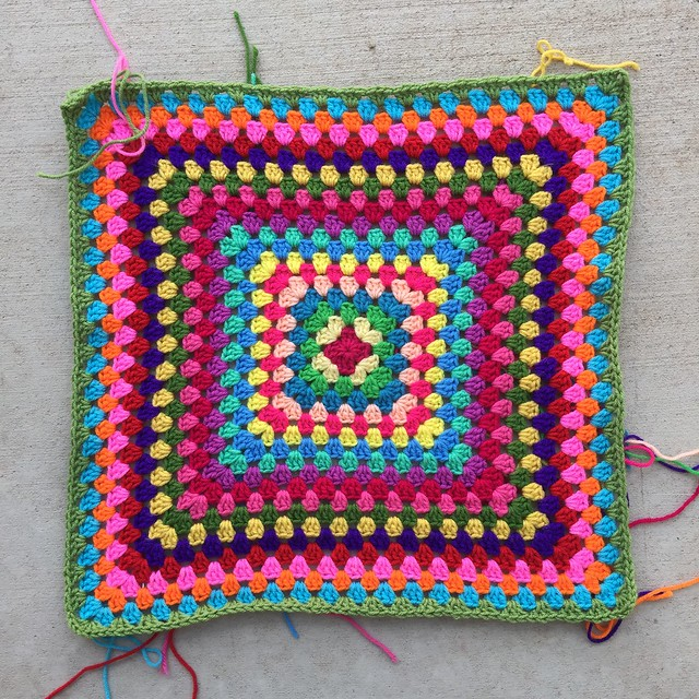 After working around and around in concentric squares, I reach the twentieth round of the Hello Kitty inspired granny square blanket