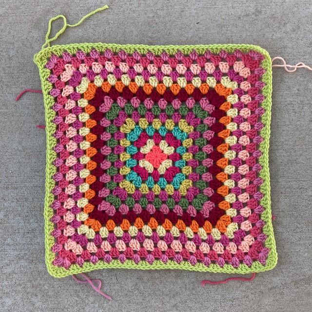 A future multicolor granny square picnic blanket