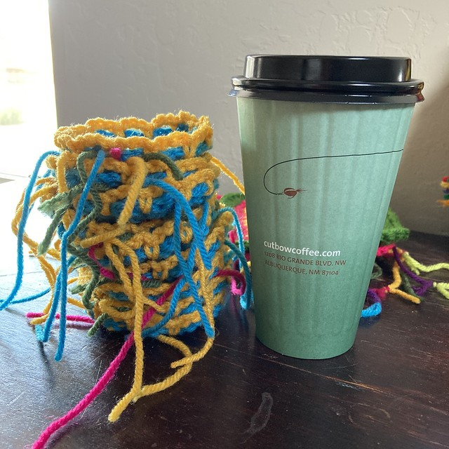 Coffee to fuel my work on the nine crochet squares on which I got a little bit stuck