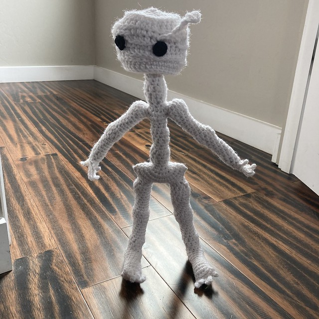 Mr. Headz, the crochet skeleton, all dressed up with nowhere to go