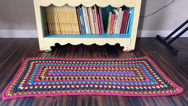 My cat's new oasis; a crochet granny rectangle rug in front of a bookcase