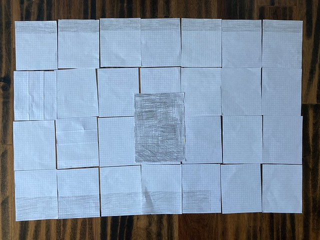 """A graph for the """"my last door"""" crochet yarn bomb made using graph paper and a crayon"""