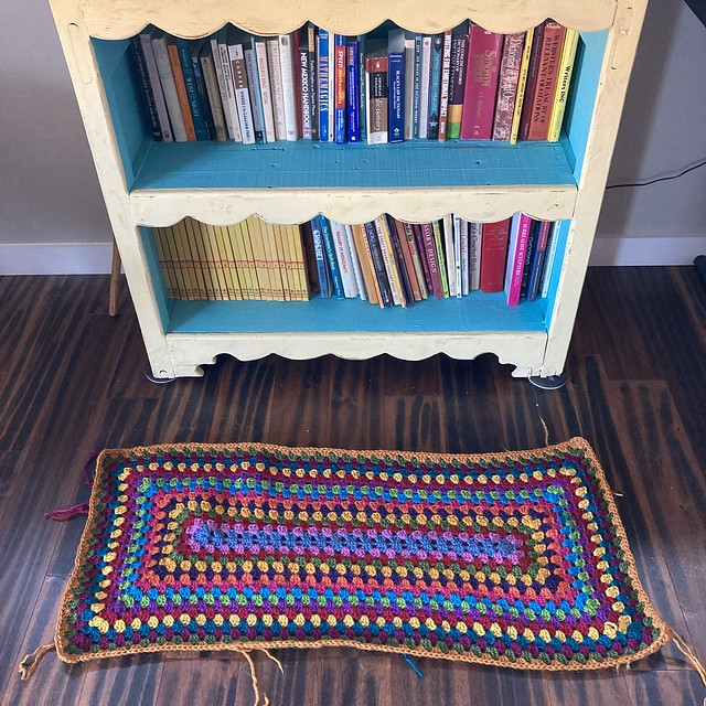 A multicolor rectangle granny rug to add to my bookcase decor