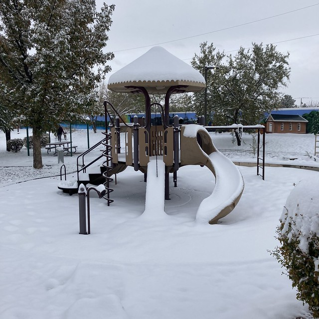 A photo of the slide at the park during the October Snowpocalypse