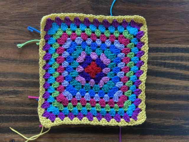 The central piece of a granny square cardigan