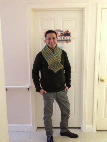 The first scarf I ever crocheted for my brother, clearly I knew nothing about yardage and gauge at this point.