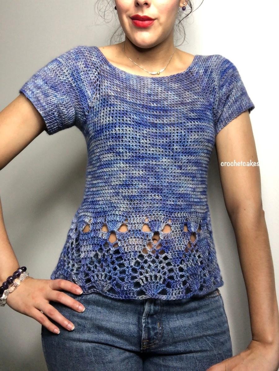 crochet top made using 200g of yarn.