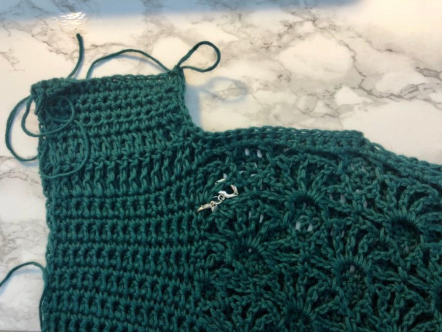 crochet summer fan top sleeve join