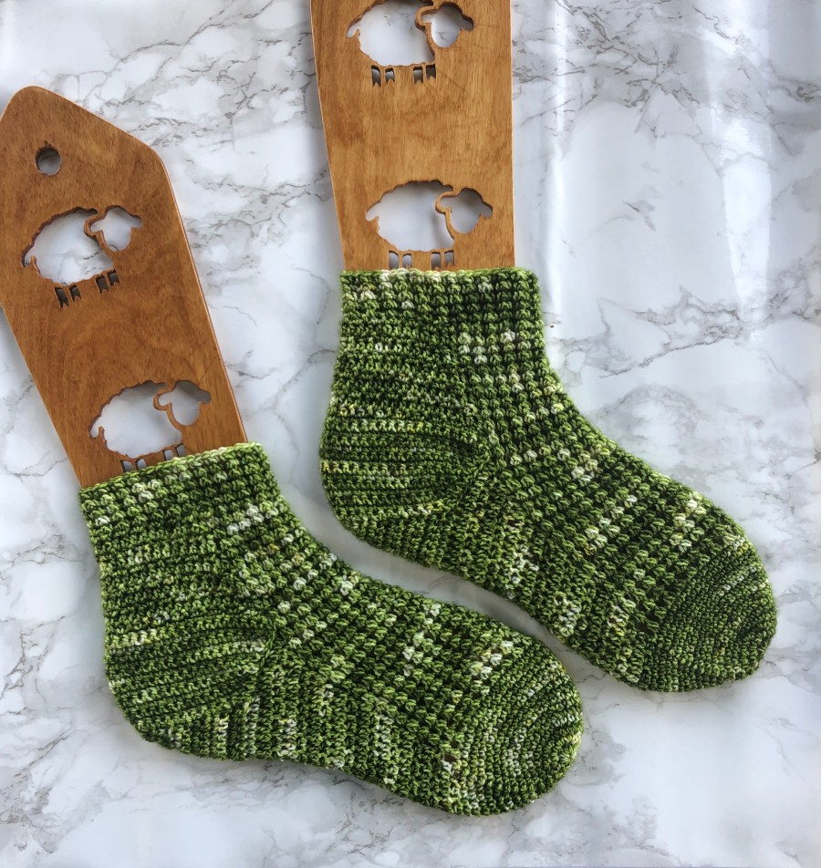endor moon crochet socks