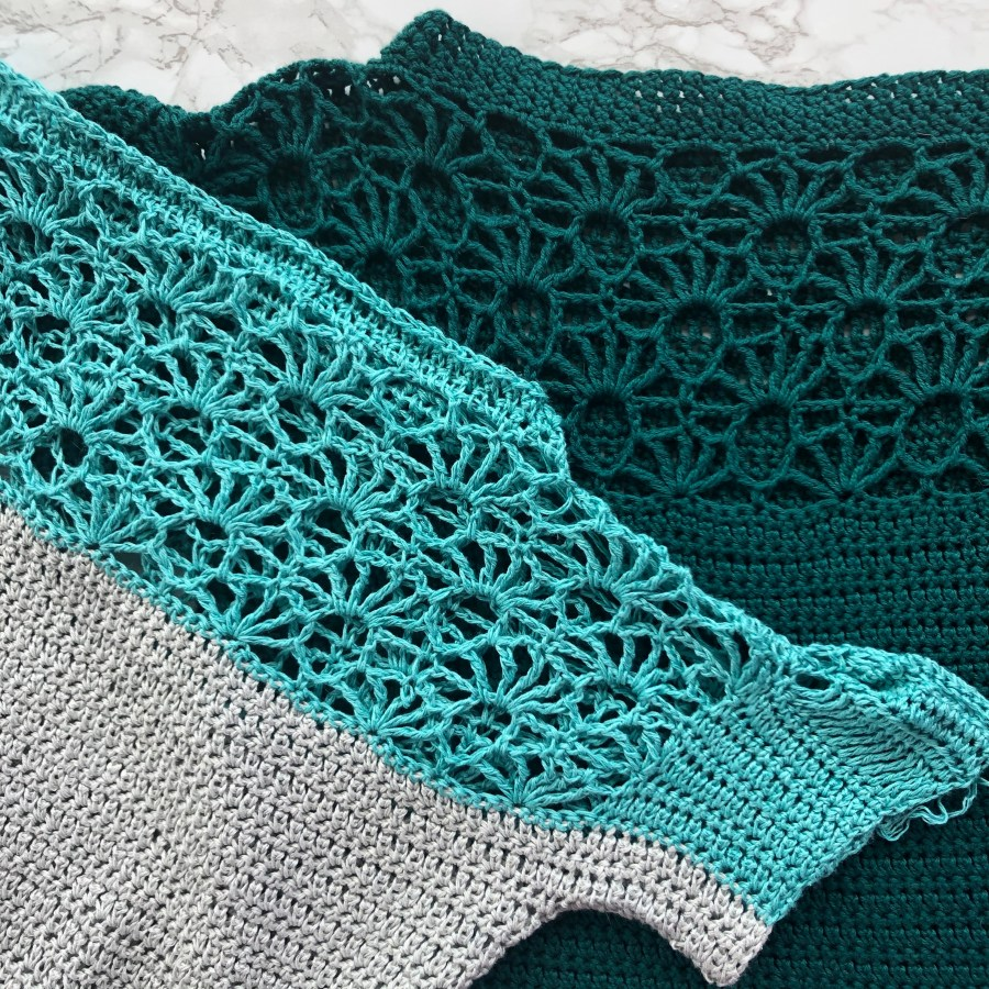 yarn matters. two versions of the summer fan top in different yarn blends.