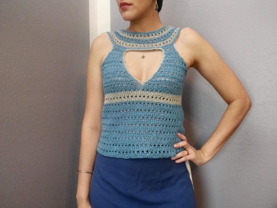 Female wearing Lapis Lazuli Crochet Top