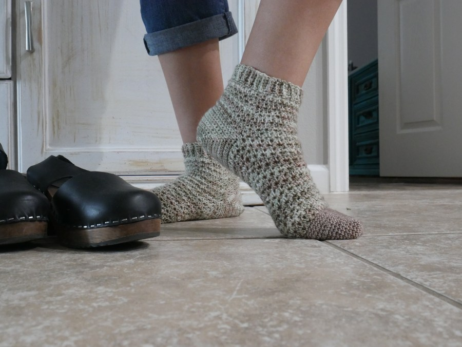 Toe up crochet socks, how they fit.