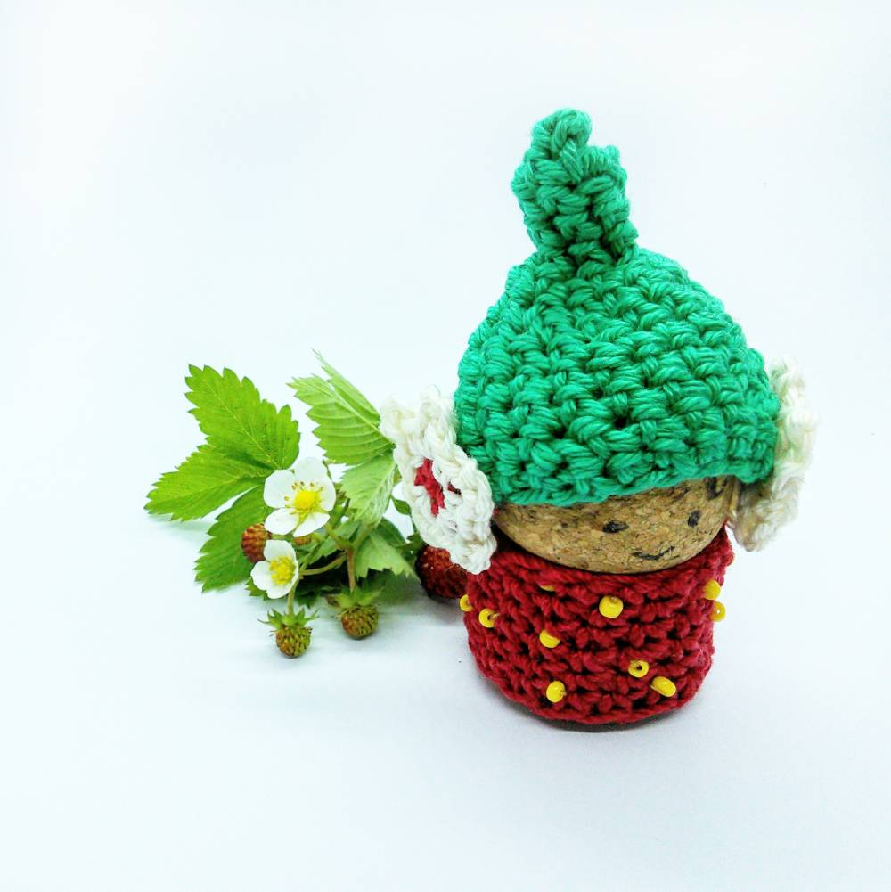Stawberry Cork Gnome - Free Crochet Pattern - Crochet Cloudberry