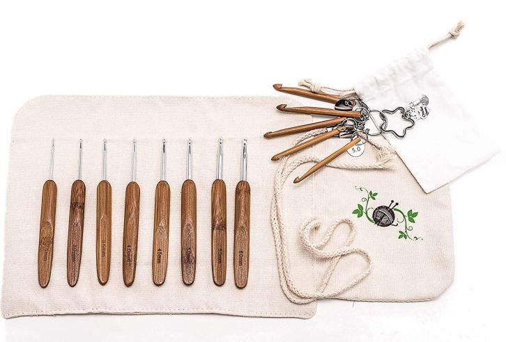 Bamboo Crochet Hook Set with Canvas Case