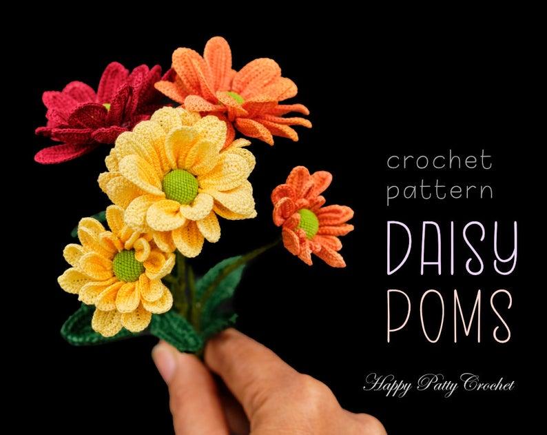 Crochet Daisy Pom Pattern