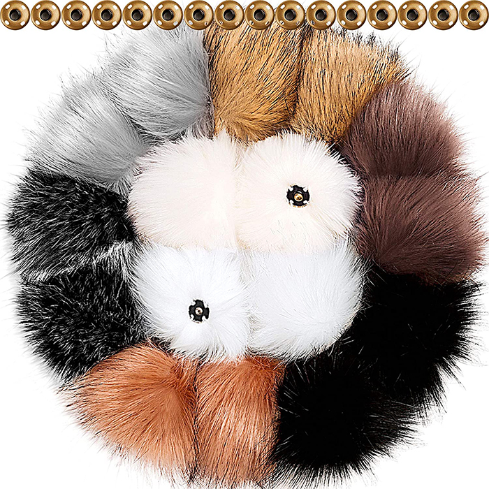 Faux Fur Pom Poms with Buttons