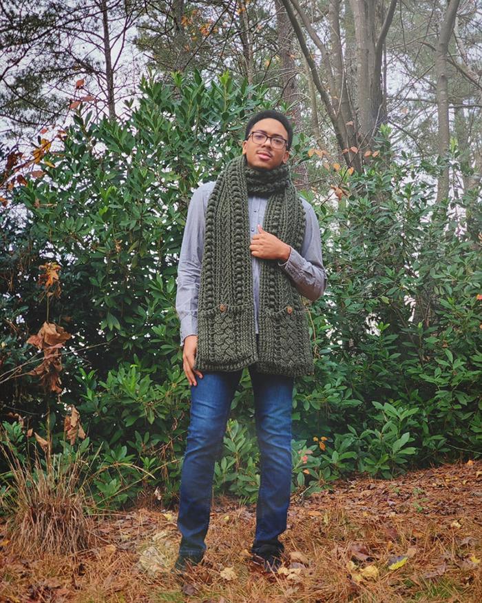 Forest Pine Crochet Pocket Scarf