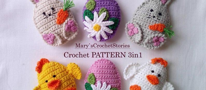Easter Decor Eggs – Easter egg, Chicken, Bunny by Marys Crochet Stories
