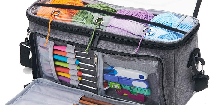 Yarn Storage Bag Organizer with 3 Holes by VOSDANS