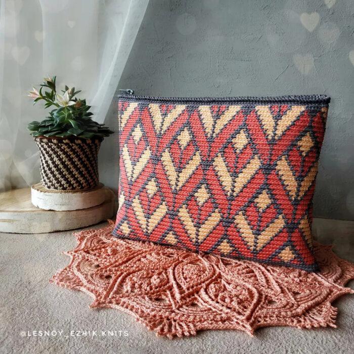 Tapestry Crochet Cosmetic Bag