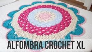 Alfombra redonda de crochet XL