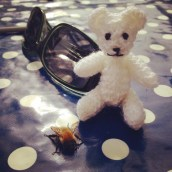 Phina's miniature knitted teddy