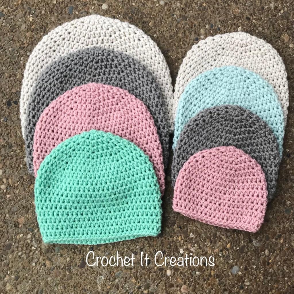 Basic Crochet Hat Pattern 8 Sizes Newborn Adult By Crochet It Creations