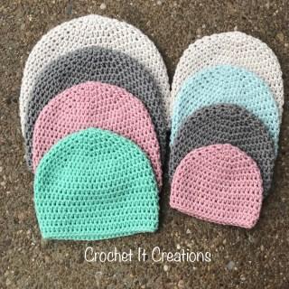 Basic Hat Crochet Pattern in 8 Sizes