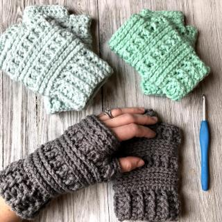 Fingerless Gloves Wrist Warmer Crochet Pattern by Crochet It Creations