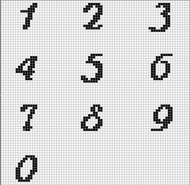 Alphabet And Number Graphs Charts For Crochet Knit Weaving Filet