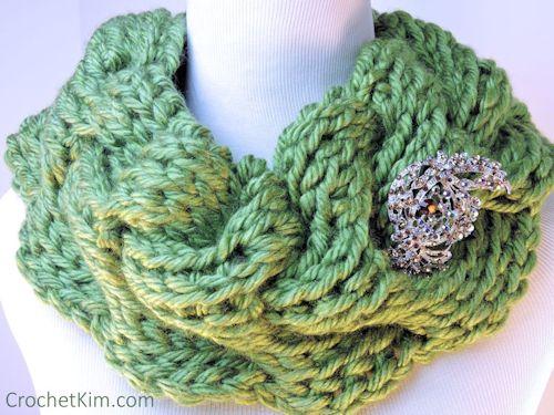 Rippling Waves Cowl Free Tunisian Crochet Pattern Crochetkim