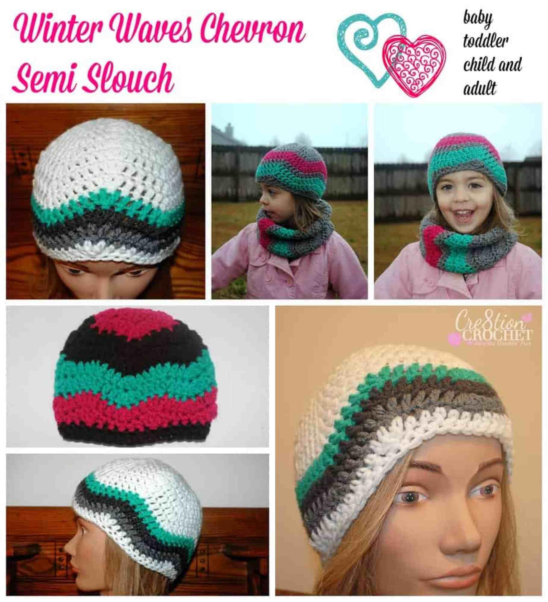 Winter Waves Chevron Cowl And Beanie Free Crochet Pattern Crochetkim