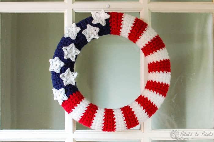 American Flag Wreath Free Crochet Pattern Crochetkim