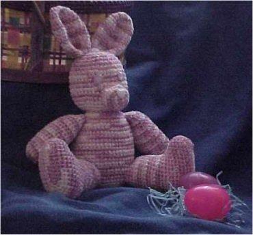 CrochetKim Free Crochet Pattern | Chenille Stuffed Easter Bunny @crochetkim