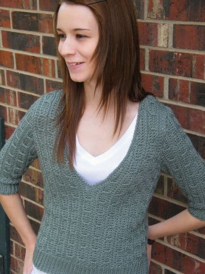 Mock Cable Pullover by Kim Guzman at crochetkim
