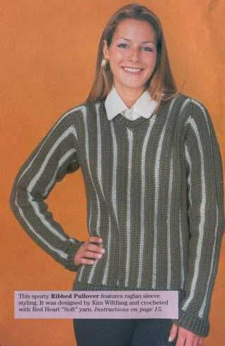 Ribbed Pullover by Kim Guzman (Camel Crochet article)