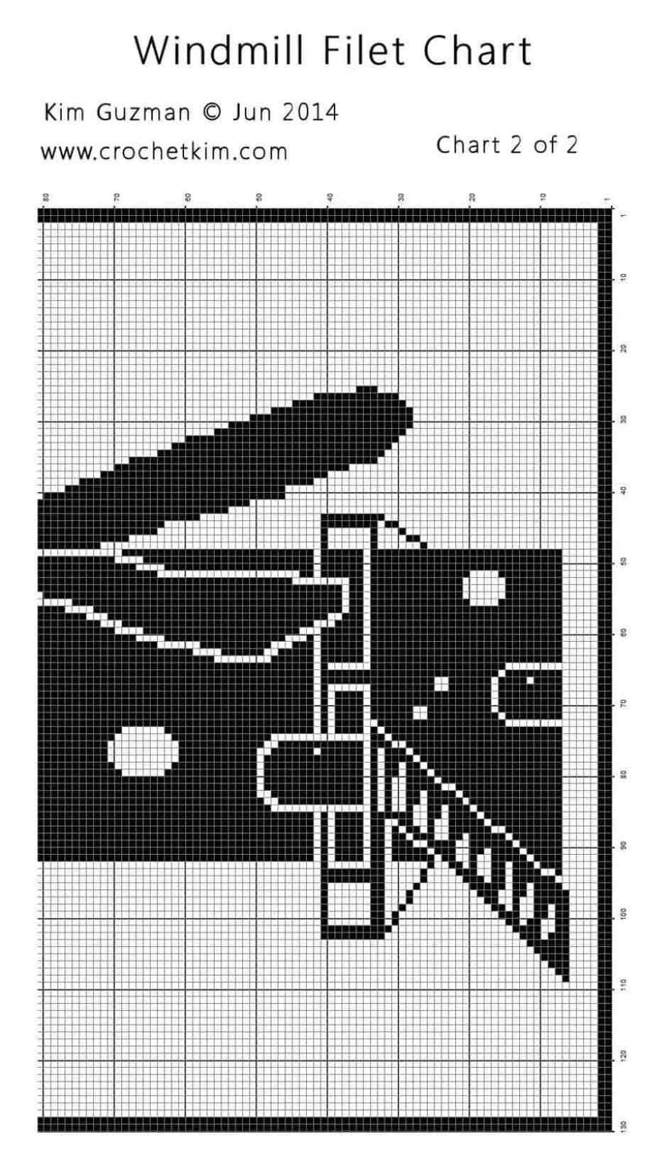 CrochetKim Free Crochet Pattern   Windmill Filet Chart @crochetkim