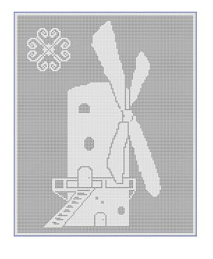 CrochetKim Free Crochet Pattern | Windmill Filet Chart @crochetkim