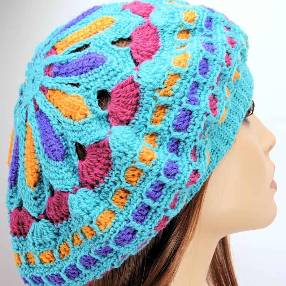 Turquoise Mandala Slouchie Beret Free Crochet Pattern