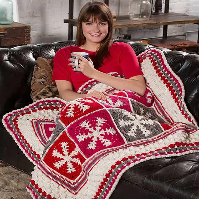 Free Crochet Pattern: Snowflake Throw