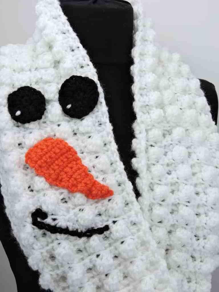 Winter Snowman Puffs Infinity Scarf in Lion Brand Yarn Free Crochet Pattern