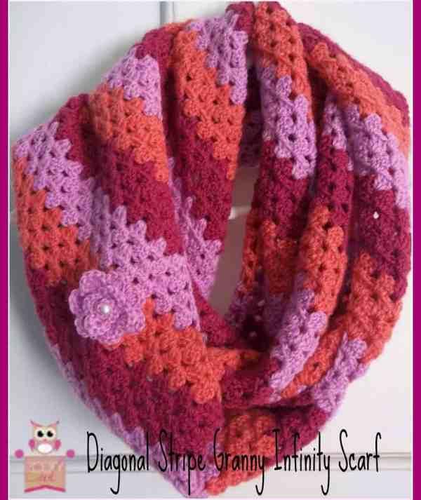 Diagonal Stripe Infinity Scarf Free Crochet Pattern Crochetkim