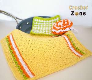 Free Crochet Pattern: Citrus Splash Kitchen Set
