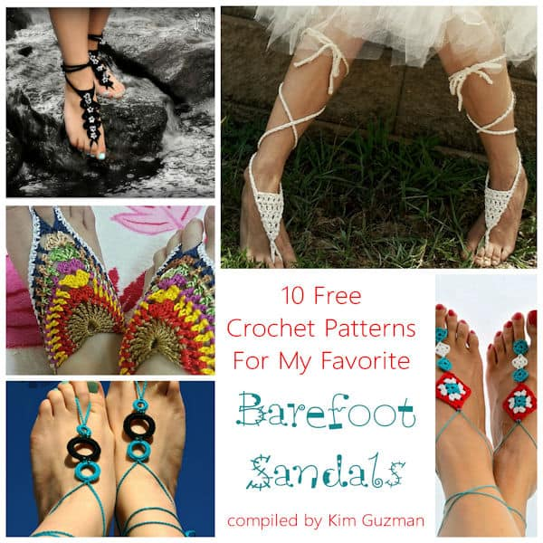 Link Blast 10 Free Crochet Patterns For Barefoot Sandals Crochetkim