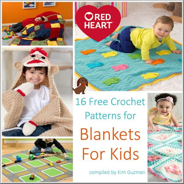 Link Blast: 16 Free Crochet Patterns for Blankets for Kids from Red Heart Yarns