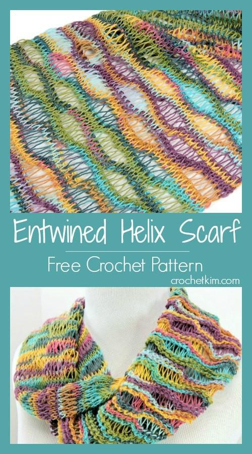 Entwined Helix Scarf | CrochetKim Free Tunisian Crochet Pattern
